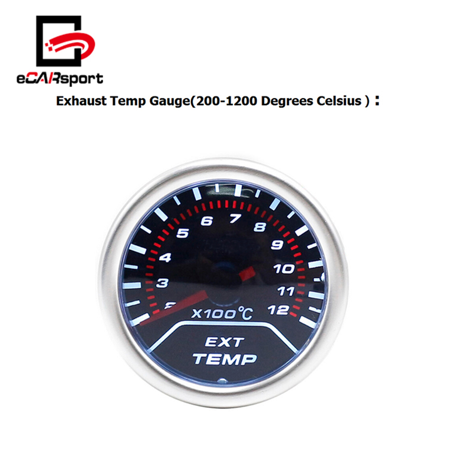 eCARsport 52mm 200Degree 1200Degree Celsius Exhaust Temp Gauge